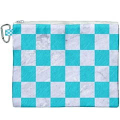 Square1 White Marble & Turquoise Colored Pencil Canvas Cosmetic Bag (xxxl) by trendistuff