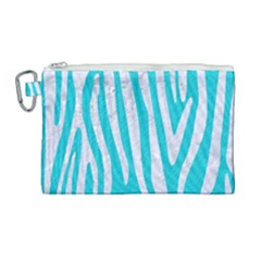 Skin4 White Marble & Turquoise Colored Pencil (r) Canvas Cosmetic Bag (large)