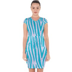 Skin4 White Marble & Turquoise Colored Pencil Capsleeve Drawstring Dress