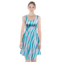 Skin3 White Marble & Turquoise Colored Pencil (r) Racerback Midi Dress