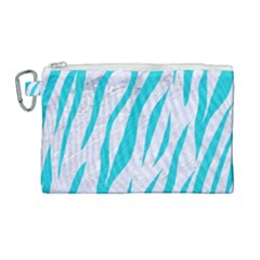 Skin3 White Marble & Turquoise Colored Pencil (r) Canvas Cosmetic Bag (large) by trendistuff