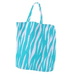Skin3 White Marble & Turquoise Colored Pencil Giant Grocery Zipper Tote by trendistuff