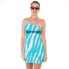 Skin3 White Marble & Turquoise Colored Pencil One Soulder Bodycon Dress