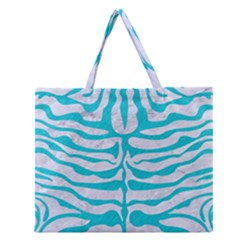 Skin2 White Marble & Turquoise Colored Pencil (r) Zipper Large Tote Bag by trendistuff