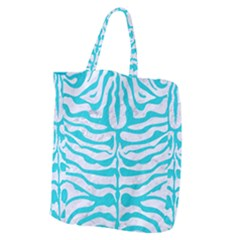Skin2 White Marble & Turquoise Colored Pencil (r) Giant Grocery Zipper Tote by trendistuff