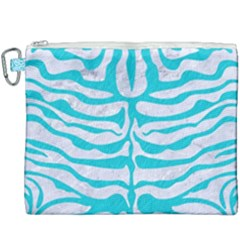 Skin2 White Marble & Turquoise Colored Pencil (r) Canvas Cosmetic Bag (xxxl) by trendistuff