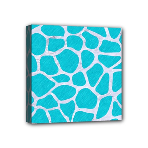 Skin1 White Marble & Turquoise Colored Pencil (r) Mini Canvas 4  X 4  by trendistuff