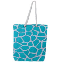 Skin1 White Marble & Turquoise Colored Pencil (r) Full Print Rope Handle Tote (large) by trendistuff