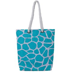 Skin1 White Marble & Turquoise Colored Pencil (r) Full Print Rope Handle Tote (small) by trendistuff