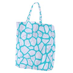 Skin1 White Marble & Turquoise Colored Pencil Giant Grocery Zipper Tote by trendistuff