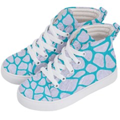Skin1 White Marble & Turquoise Colored Pencil Kid s Hi Top Skate Sneakers by trendistuff