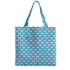 Scales3 White Marble & Turquoise Colored Pencil (r) Zipper Grocery Tote Bag by trendistuff