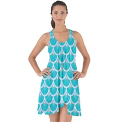 Scales3 White Marble & Turquoise Colored Pencil Show Some Back Chiffon Dress by trendistuff