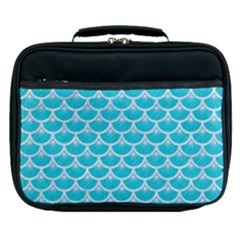Scales3 White Marble & Turquoise Colored Pencil Lunch Bag