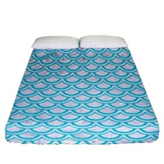 Scales2 White Marble & Turquoise Colored Pencil (r) Fitted Sheet (california King Size) by trendistuff