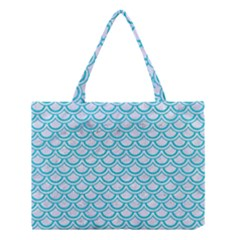 Scales2 White Marble & Turquoise Colored Pencil (r) Medium Tote Bag by trendistuff