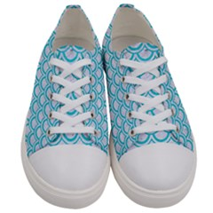 Scales2 White Marble & Turquoise Colored Pencil (r) Women s Low Top Canvas Sneakers