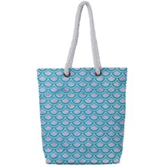 Scales2 White Marble & Turquoise Colored Pencil (r) Full Print Rope Handle Tote (small) by trendistuff