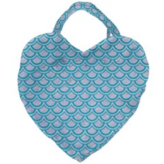Scales2 White Marble & Turquoise Colored Pencil (r) Giant Heart Shaped Tote by trendistuff