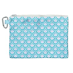 Scales2 White Marble & Turquoise Colored Pencil (r) Canvas Cosmetic Bag (xl)