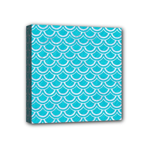 Scales2 White Marble & Turquoise Colored Pencil Mini Canvas 4  X 4  by trendistuff