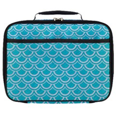 Scales2 White Marble & Turquoise Colored Pencil Full Print Lunch Bag by trendistuff