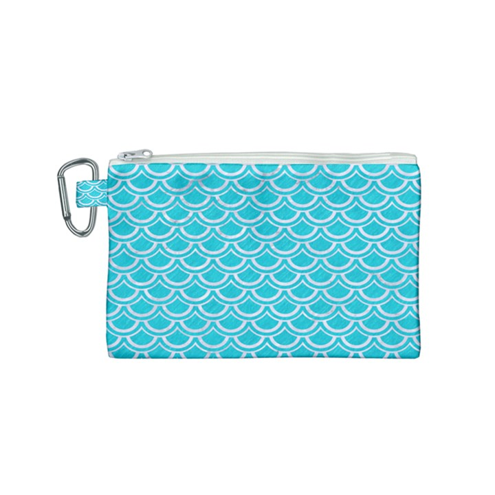 SCALES2 WHITE MARBLE & TURQUOISE COLORED PENCIL Canvas Cosmetic Bag (Small)