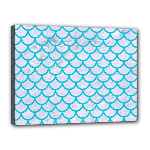 Scales1 White Marble & Turquoise Colored Pencil (r) Canvas 16  X 12  by trendistuff