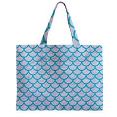 Scales1 White Marble & Turquoise Colored Pencil (r) Zipper Mini Tote Bag by trendistuff