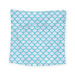 Scales1 White Marble & Turquoise Colored Pencil (r) Square Tapestry (small) by trendistuff