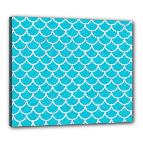 Scales1 White Marble & Turquoise Colored Pencil Canvas 24  X 20  by trendistuff