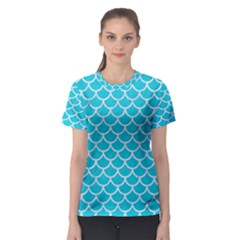 Scales1 White Marble & Turquoise Colored Pencil Women s Sport Mesh Tee
