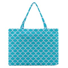 Scales1 White Marble & Turquoise Colored Pencil Zipper Medium Tote Bag by trendistuff