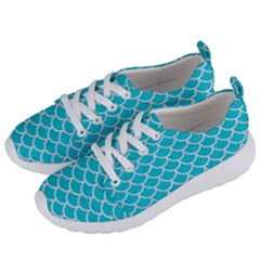 Scales1 White Marble & Turquoise Colored Pencil Women s Lightweight Sports Shoes by trendistuff