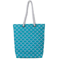 Scales1 White Marble & Turquoise Colored Pencil Full Print Rope Handle Tote (small) by trendistuff