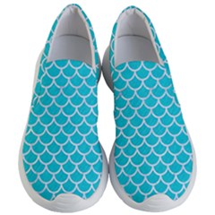Scales1 White Marble & Turquoise Colored Pencil Women s Lightweight Slip Ons by trendistuff