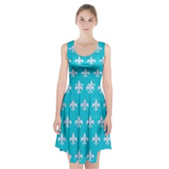 Royal1 White Marble & Turquoise Colored Pencil (r) Racerback Midi Dress by trendistuff