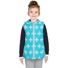 Royal1 White Marble & Turquoise Colored Pencil (r) Kid s Puffer Vest