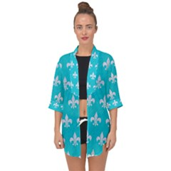 Royal1 White Marble & Turquoise Colored Pencil (r) Open Front Chiffon Kimono