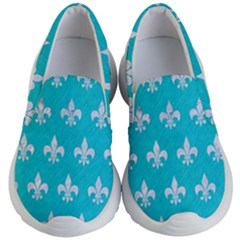 Royal1 White Marble & Turquoise Colored Pencil (r) Kid s Lightweight Slip Ons by trendistuff