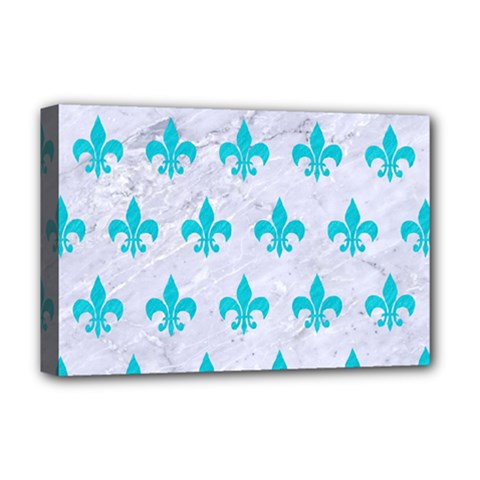 Royal1 White Marble & Turquoise Colored Pencil Deluxe Canvas 18  X 12