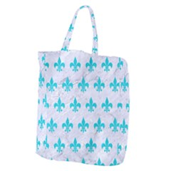 Royal1 White Marble & Turquoise Colored Pencil Giant Grocery Zipper Tote by trendistuff
