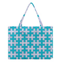 Puzzle1 White Marble & Turquoise Colored Pencil Medium Tote Bag by trendistuff