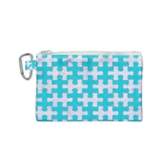 Puzzle1 White Marble & Turquoise Colored Pencil Canvas Cosmetic Bag (small) by trendistuff