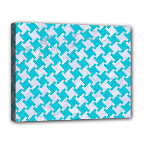 Houndstooth2 White Marble & Turquoise Colored Pencil Canvas 14  X 11  by trendistuff