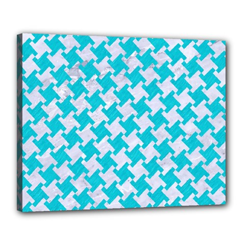 Houndstooth2 White Marble & Turquoise Colored Pencil Canvas 20  X 16  by trendistuff