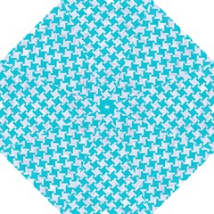 Houndstooth2 White Marble & Turquoise Colored Pencil Hook Handle Umbrellas (large) by trendistuff