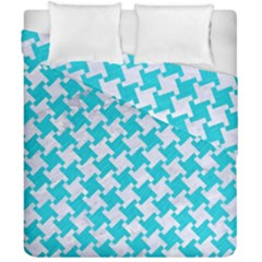 Houndstooth2 White Marble & Turquoise Colored Pencil Duvet Cover Double Side (california King Size) by trendistuff