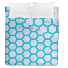 Hexagon2 White Marble & Turquoise Colored Pencil (r) Duvet Cover Double Side (queen Size) by trendistuff