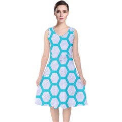 Hexagon2 White Marble & Turquoise Colored Pencil (r) V Neck Midi Sleeveless Dress